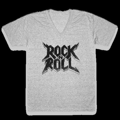 Rock n Roll (vintage) V-Neck Tee Shirt
