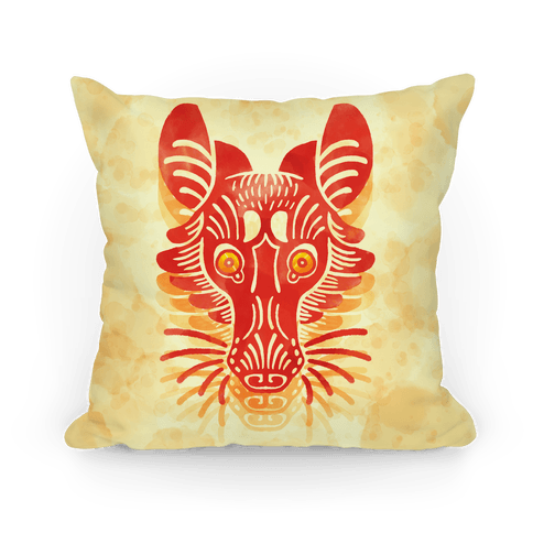 Symmetrical Gilded Fox Pillow