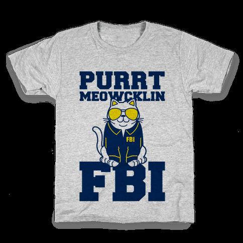 Purrt Meowcklin FBI Kids T-Shirt