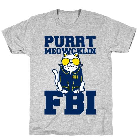 Purrt Meowcklin FBI Mens T-Shirt