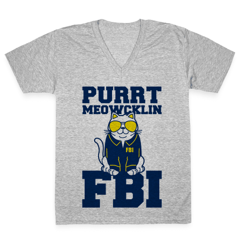 Purrt Meowcklin FBI V-Neck Tee Shirt