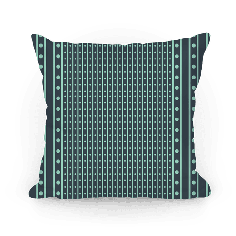 Green Stripes and Polka Dots Pillow