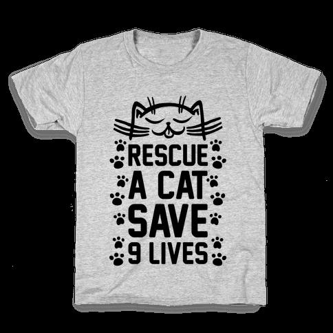 Rescue A Cat Save Nine Lives Kids T-Shirt