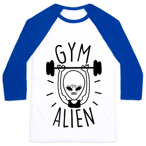 Gym Alien Lifting Baseball Tee