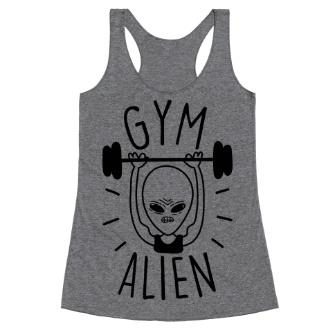 Gym Alien Lifting Racerback Tank Top