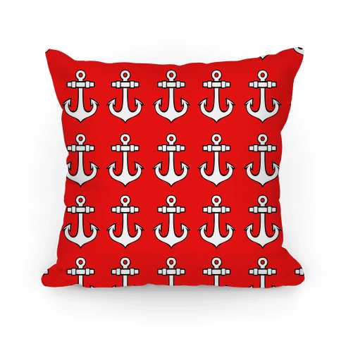 Red Anchor Pattern Pillow