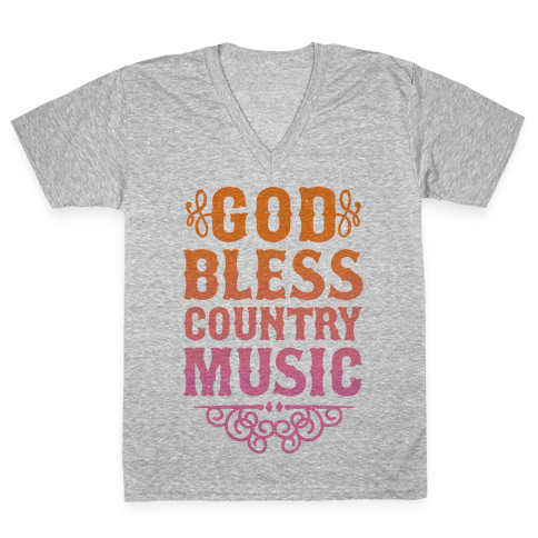 God Bless Country Music V-Neck Tee Shirt