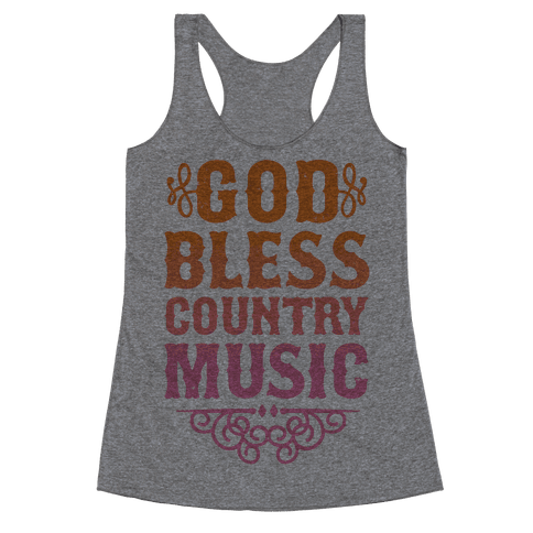 God Bless Country Music Racerback Tank Top