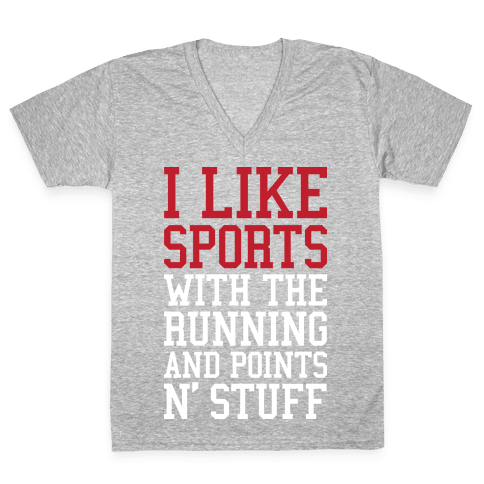 I Like Sports V-Neck Tee Shirt