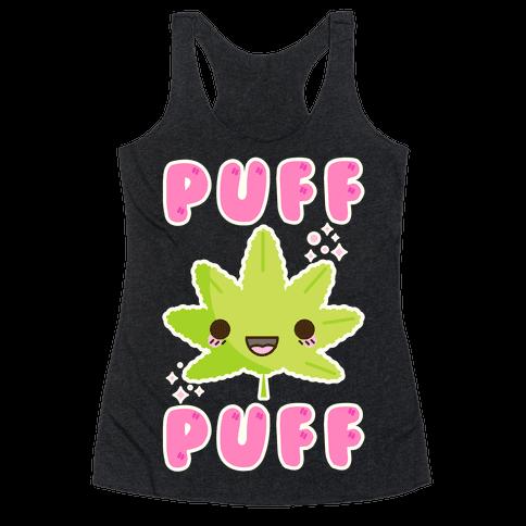 Puff Puff The Kawaii Pot Leaf Racerback Tank Top
