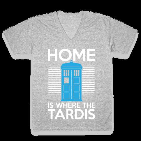Home Is Where The Tardis V-Neck Tee Shirt