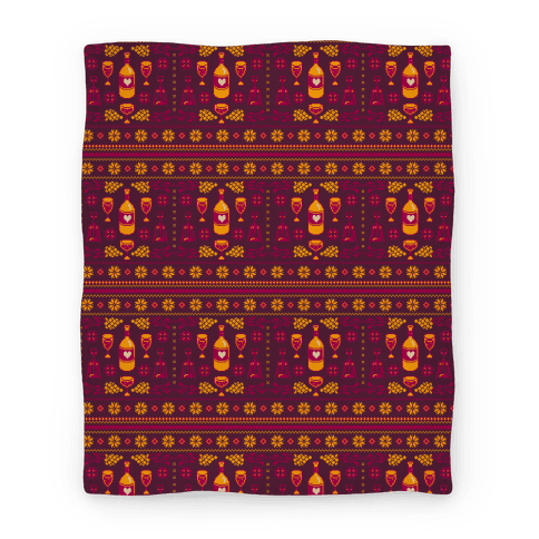 ugly wine christmas sweater pattern blanket