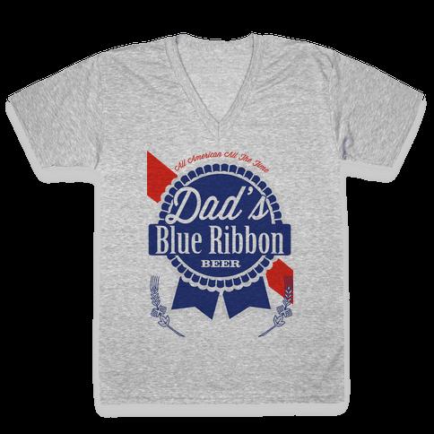 Dad's Blue Ribbon V-Neck Tee Shirt
