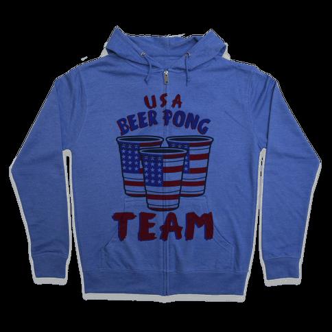 USA Beer Pong Team Zip Hoodie