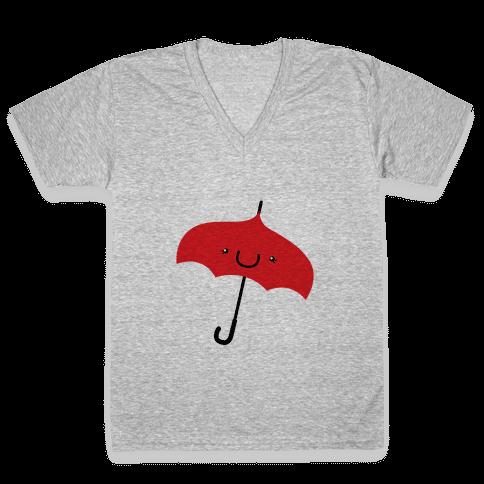Red Umbrella V-Neck Tee Shirt