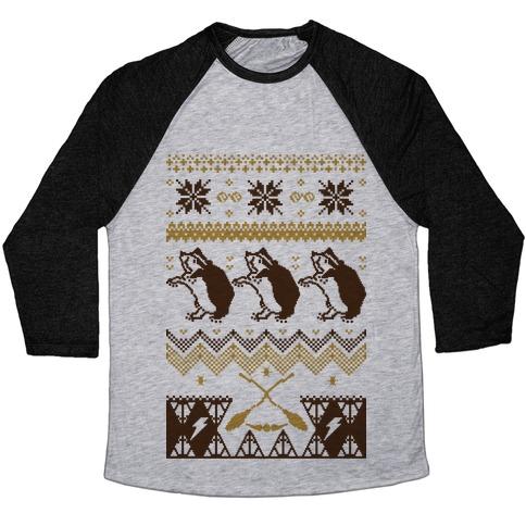 Hogwarts Ugly Christmas Sweater: Hufflepuff Baseball Tee