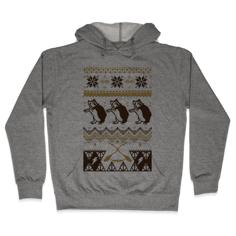 Hogwarts Ugly Christmas Sweater: Hufflepuff Hooded Sweatshirt