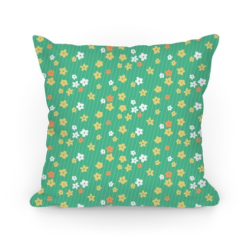 Little Floral Meadow Pattern (Green) Pillow