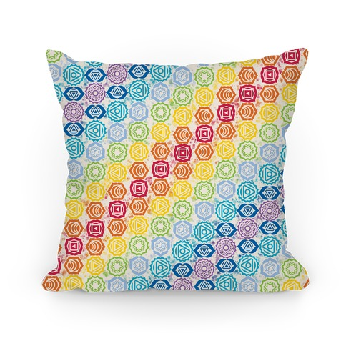 Watercolor Chakra Symbol Pattern Pillow