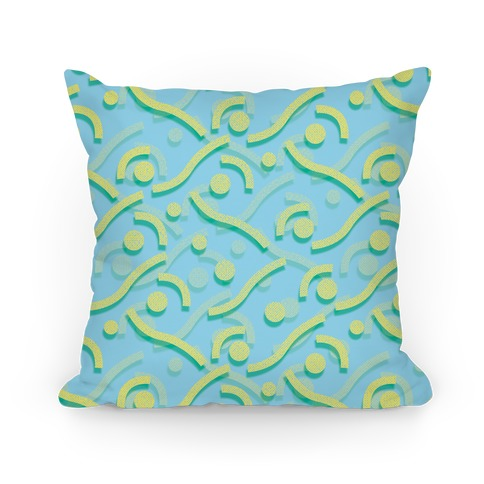 Yellow And Blue 90's Pattern Pillow