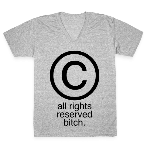 All Rights Reserved Bitch V-Neck Tee Shirt