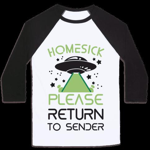 Homesick Please Return to Sender Baseball Tee