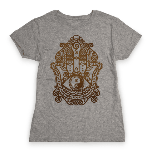 Peaceful Hamsa Hand Womens T-Shirt