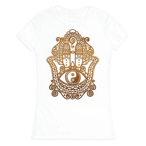 Peaceful Hamsa Hand Womens T-Shirt