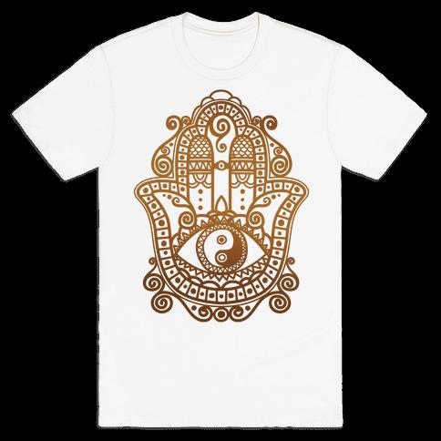 Peaceful Hamsa Hand Mens T-Shirt
