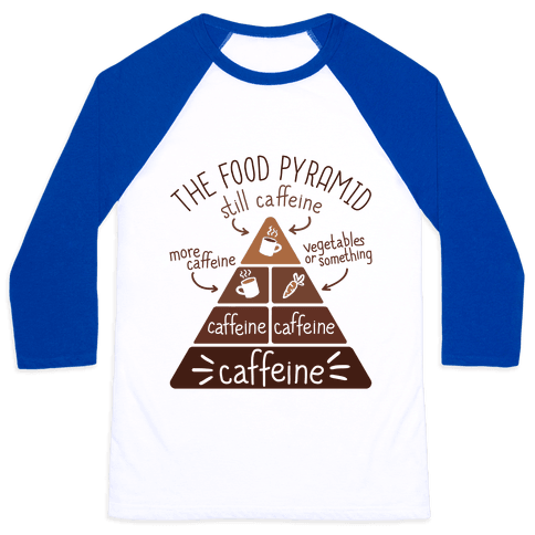 Coffee Food Pyramid Baseball Tee