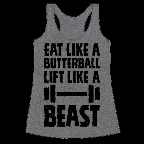 Eat Like A Butterball Lift Like A Beast Racerback Tank Top