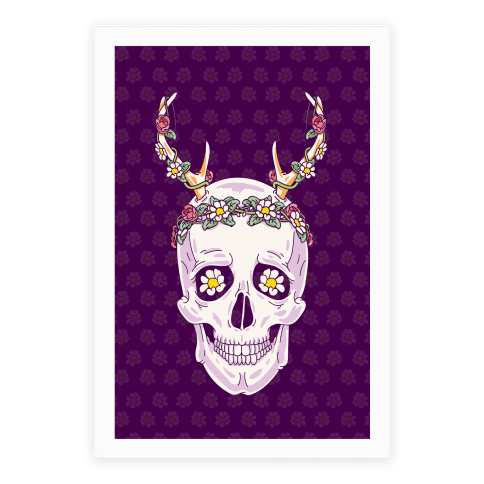 Flower Crown Skull Poster