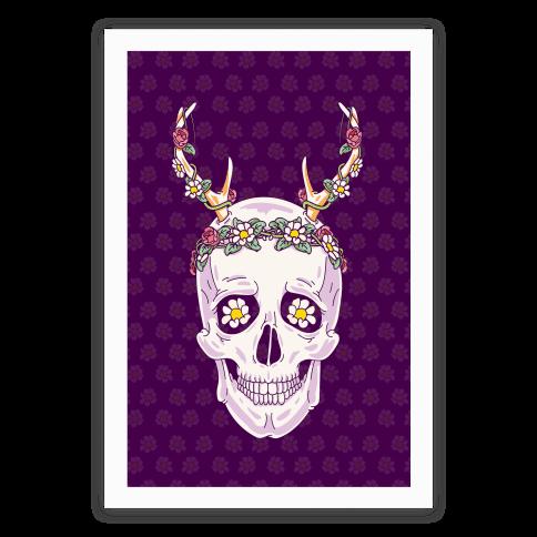 Flower Crown Skull Poster