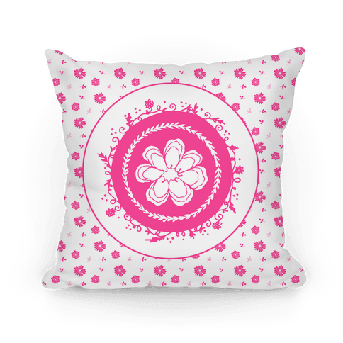 Springtime Floral Mandala (Pink and Whitel) Pillow