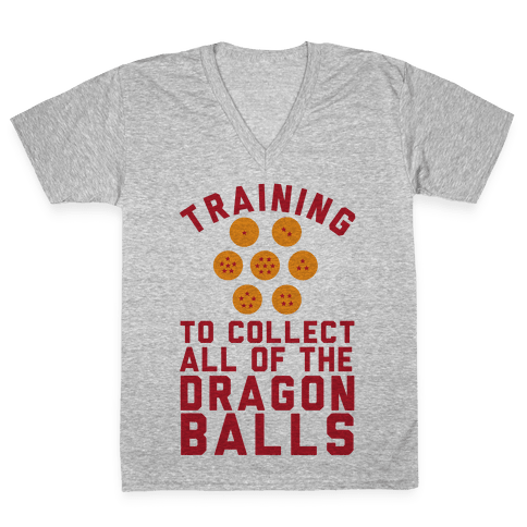Training To Collect All Of The Dragon Balls V-Neck Tee Shirt