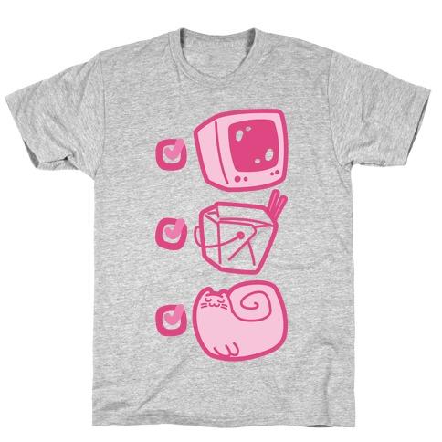 Tv Takeout Cat Mens/Unisex T-Shirt