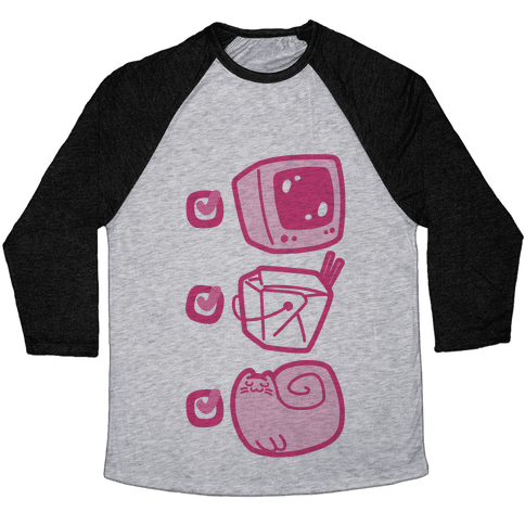 Tv Takeout Cat Baseball Tee
