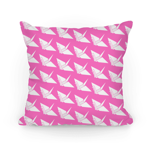 Pink Origami Crane Pattern Pillow