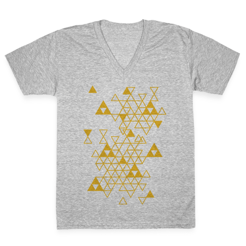 Geometric Triforce Pattern V-Neck Tee Shirt