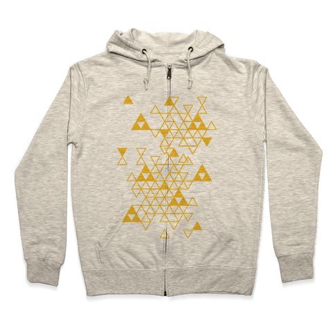 Geometric Triforce Pattern Zip Hoodie