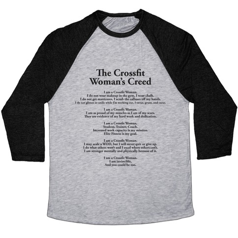 e1b39117 The Crossfit Woman's Creed (Dark Tank) Baseball. Unisex Tri-Blend ...