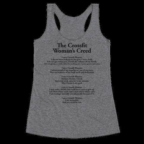 The Crossfit Woman's Creed (Dark Tank) Racerback Tank Top