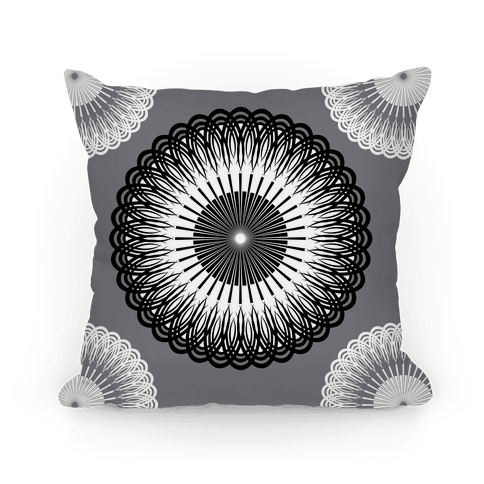 Black and White Flower Mandala Pillow