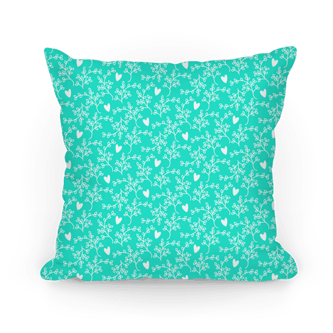 Aqua Floral Hearts Pattern Pillow