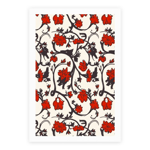 Little Red Riding Hood & Wolf Floral Pattern Poster