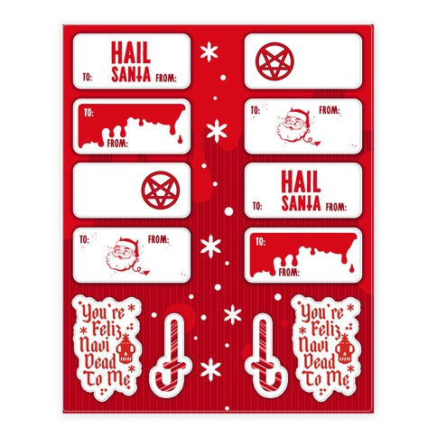 Hail Santa Gift Tag Sticker and Decal Sheet