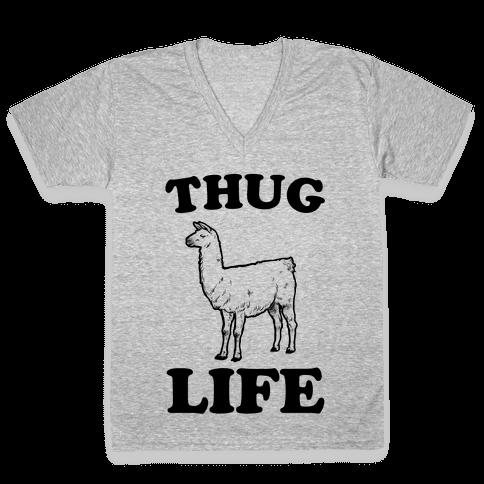Thug Life Llama V-Neck Tee Shirt