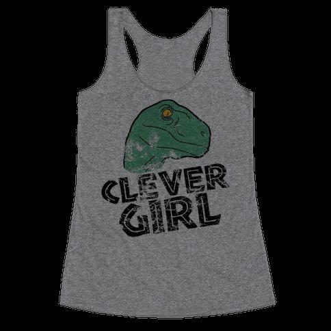 CLEVER GIRL (RAPTOR) VINTAGE Racerback Tank Top
