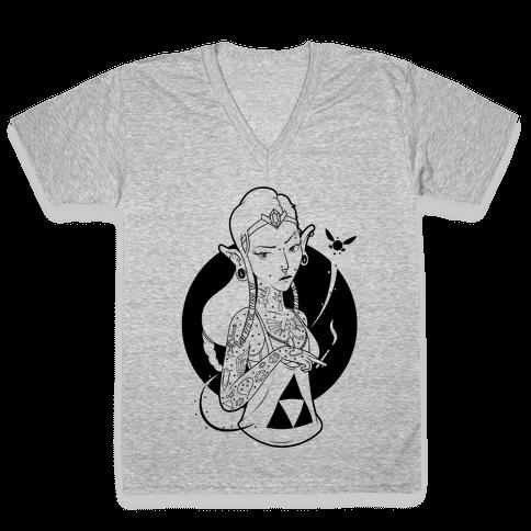 Punk Zelda Parody V-Neck Tee Shirt