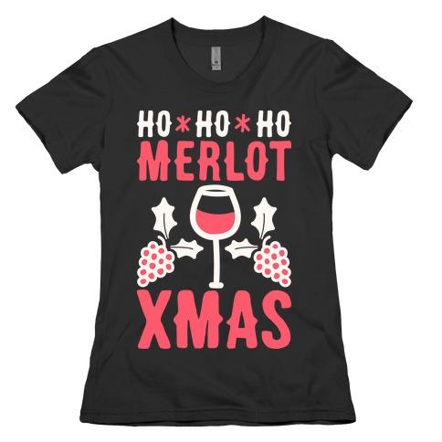 Ho Ho Ho Merlot Christmas Womens T-Shirt